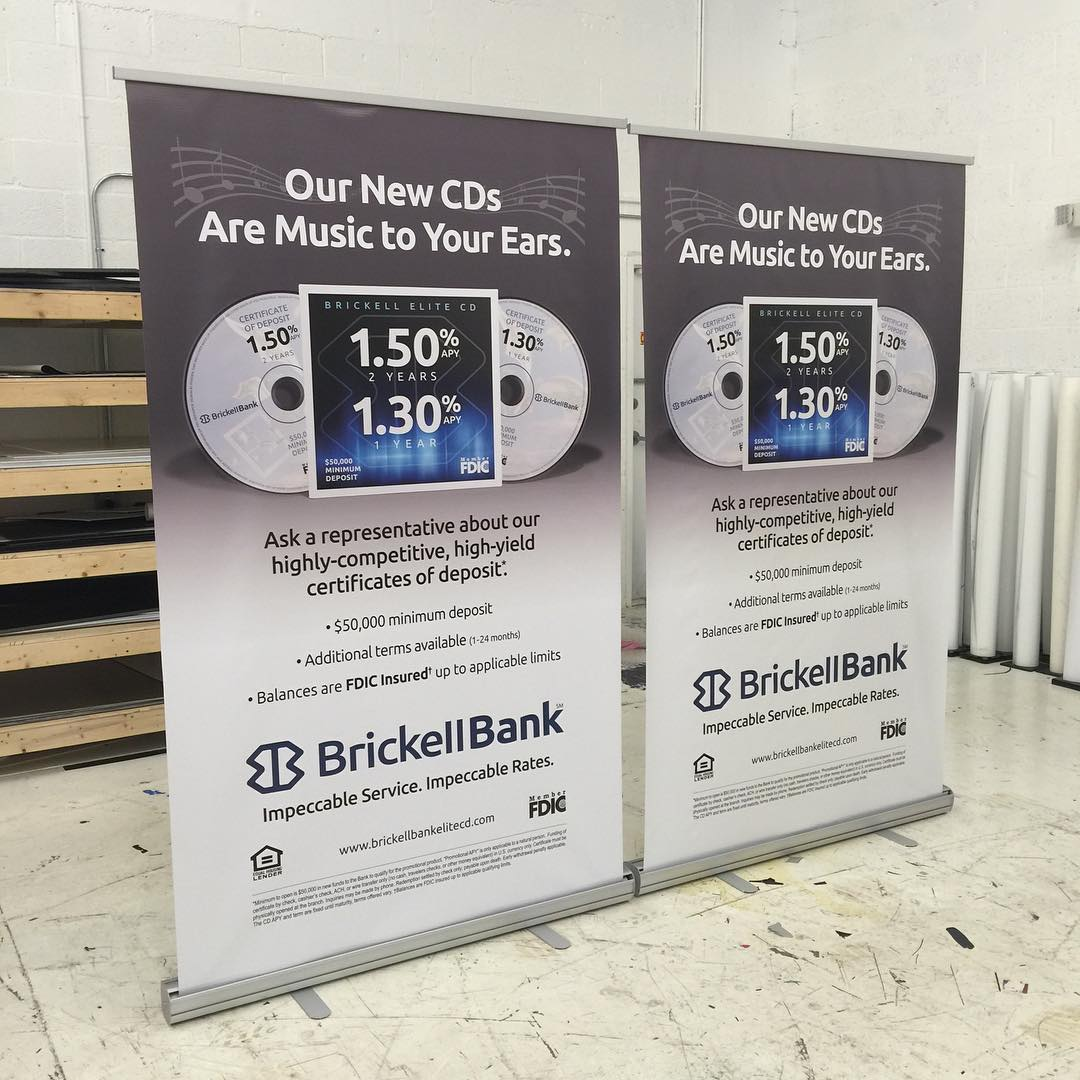 Brickell Bank Stand Up Banners from Binick Imaging