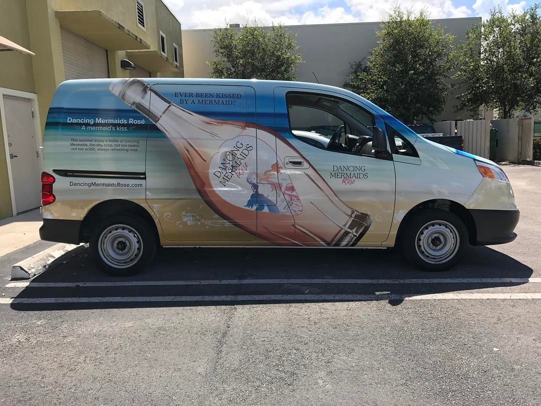 Dancing Mermaids Rosé Vehicle Wrap from Binick in Miami