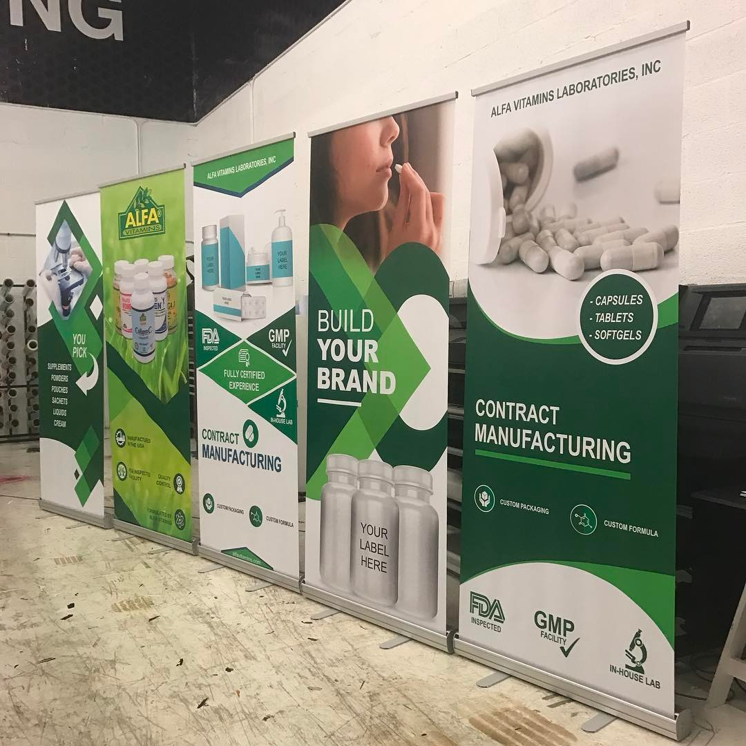 Alfa Vitamins Stand Up Banners from Binick Imaging